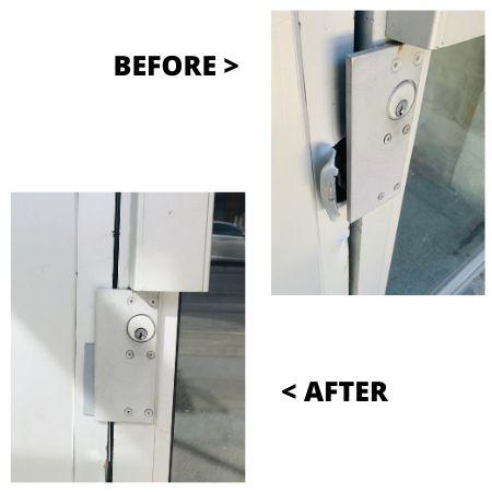 Metal door frame repair and reinforce with metal plate